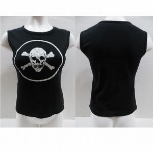 Newbreed Girl top Large sleeveless skull punk goth
